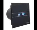 Cata ventilátor E-100 GTH BK Hygro + Timer s časovačom a čiernym skleneným krytom, LED teplomer + vlhkomer