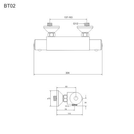 Mereo BT02 sprchová batéria termostatická nástenná