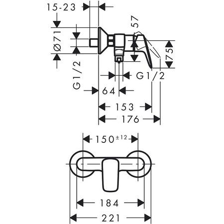 Hansgrohe batéria Logis 71600000 sprchová nástenná batéria