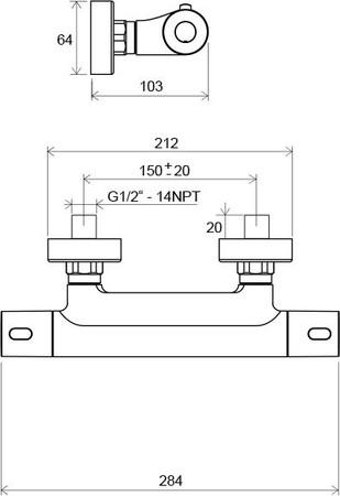 Ravak batéria sprchová termostatická Termo 300 TE 033.00/150