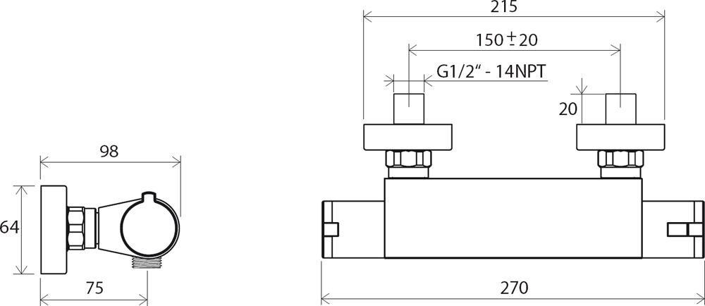 Ravak batéria sprchová termostatická Termo 200 TE 072.00/150